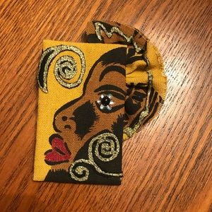 Large African lady fabric brooch / pin.